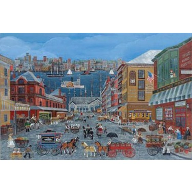 MARKET DAYS ON FULTON STREET s/n Lithograph