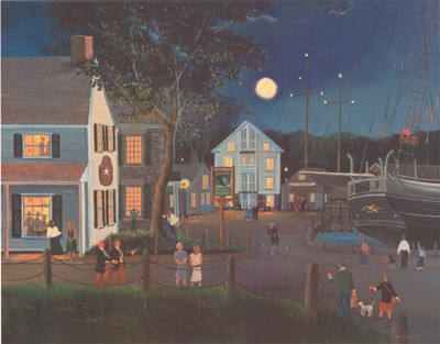 Summer Eve at Mystic Seaport a/p Litho