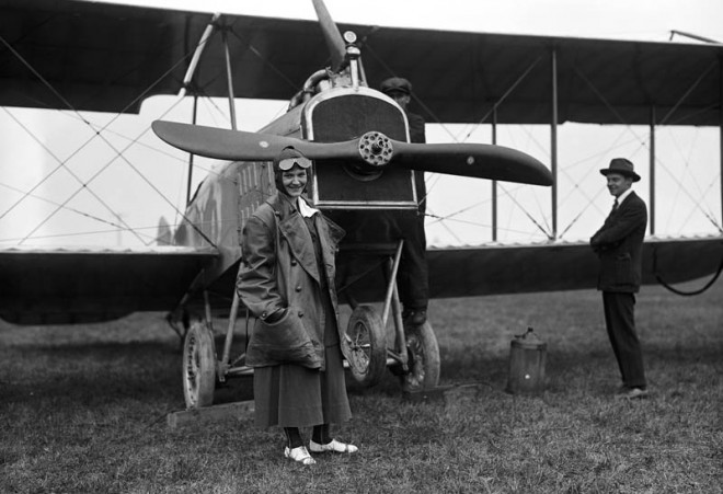 Aviatress and Biplane, 1917