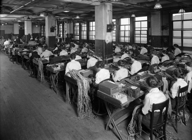 Women Making Wire Attachments, 1915