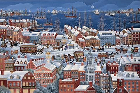 BOSTON, A CITY BY THE SEA by Carol Dyer  s/n Litho