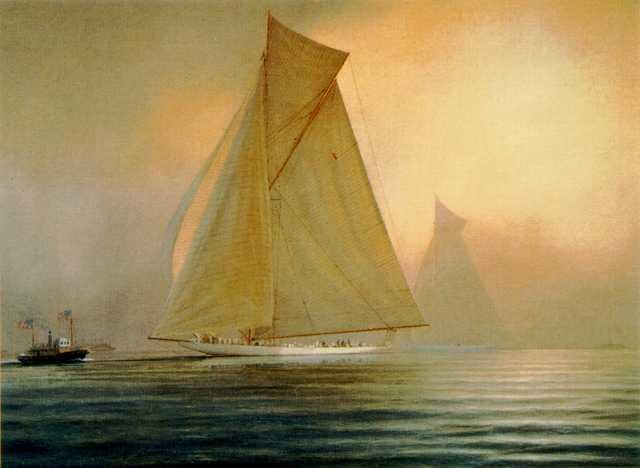 RELIANCE vs. SHAMROCK III, 1903 Signed Lithograph