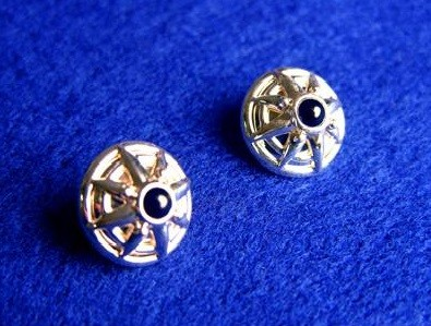 Sterling Silver Onyx Compass Earrings