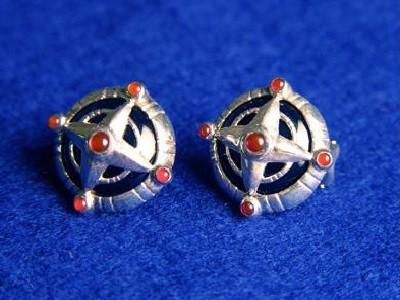 Onyx Carnelian Compass Earrings