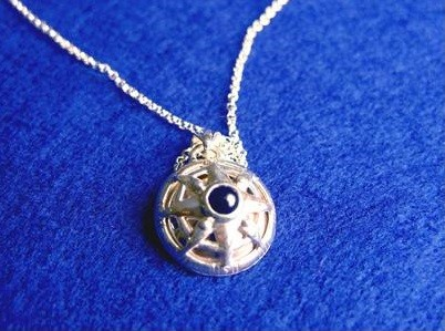 Sterling Silver Pendant Onyx Compass