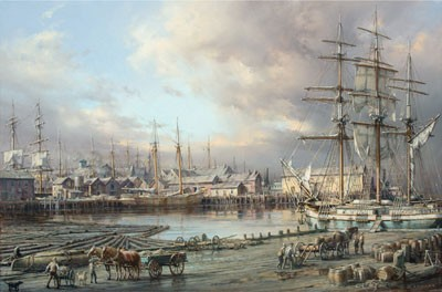 YESLER'S SAWMILL, SEATTLE WATERFRONT s/n Giclee on Canvas