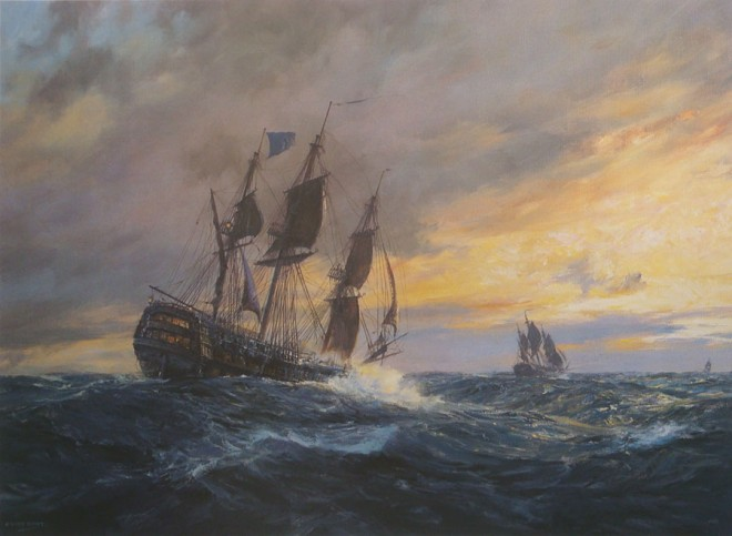 VANGUARD in heavy weather off Toulon, 19th May 1798