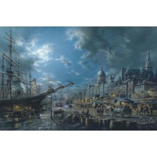 BONSECOURS MARKET BY MOONLIGHT s/n Giclee on Canvas