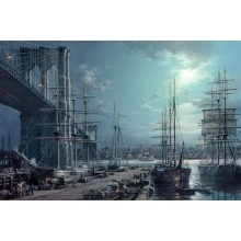 BROOKLYN BRIDGE BY MOONLIGHT, 1883 s/n Giclee on Canvas