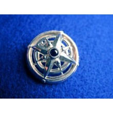 Sterling Silver Onyx Open Compass Pin