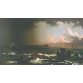 COASTAL SCENE WITH SINKING SHIP
