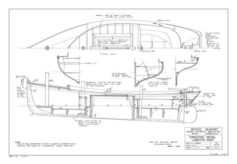 Kingston Lobster Boat by W. Bates | Mystic Seaport Ships Plans